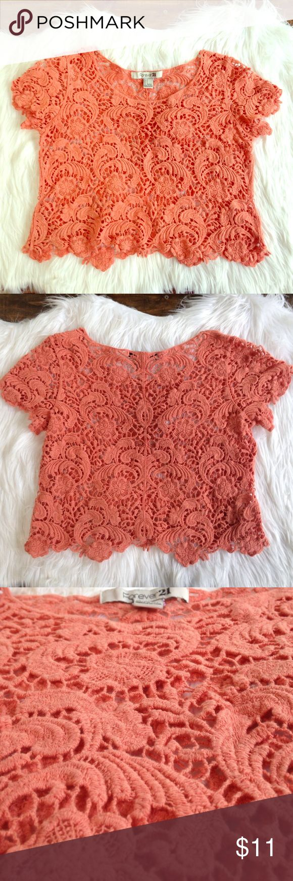💕Orange Crotchet Swimsuit Top Cover💕 This adorable crochet top goes perfect over a bathing suit top. A white bathing suit looks cute peeking through this coverup. Pair with some shorts and you're ready to go cruising on your bike 🚲👙🍻 Forever 21 Swim Coverups