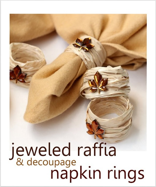 DIY fall napkin rings using raffia. ~ Mod Podge Rocks!