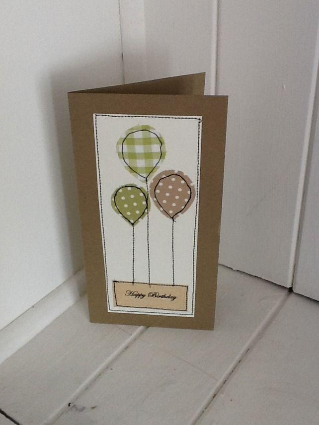 Handmade Stitched Balloon Birthday Card