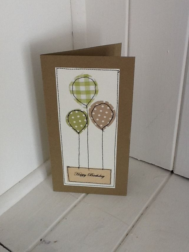 Handmade Stitched Balloon Birthday Card