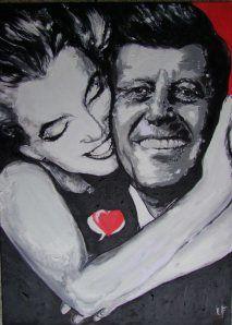 #JFK + #Marilyn: #tableau #peinture et #citations :  « N'oublions jamais que l'art n'est pas une forme de propagande ; c'est une forme de vérité.  » – JFK -  « Il ne faut pas chercher à rajouter des années à sa vie mais plutôt essayer de rajouter de la vie à ses années.» – JFK -