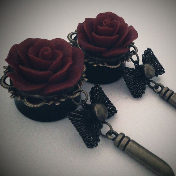 Bullet Bettie  7/8 inch 22mm Acrylic Dangly Plugs   by Glamsquared, $34.00