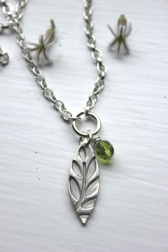 47 best metal clay jewelry images on pinterest metal clay jewelry contemporary silver leaf necklace with olive green glass bead green leaf silver pendant handmade silver pendant minimalist leaf pendant aloadofball Images