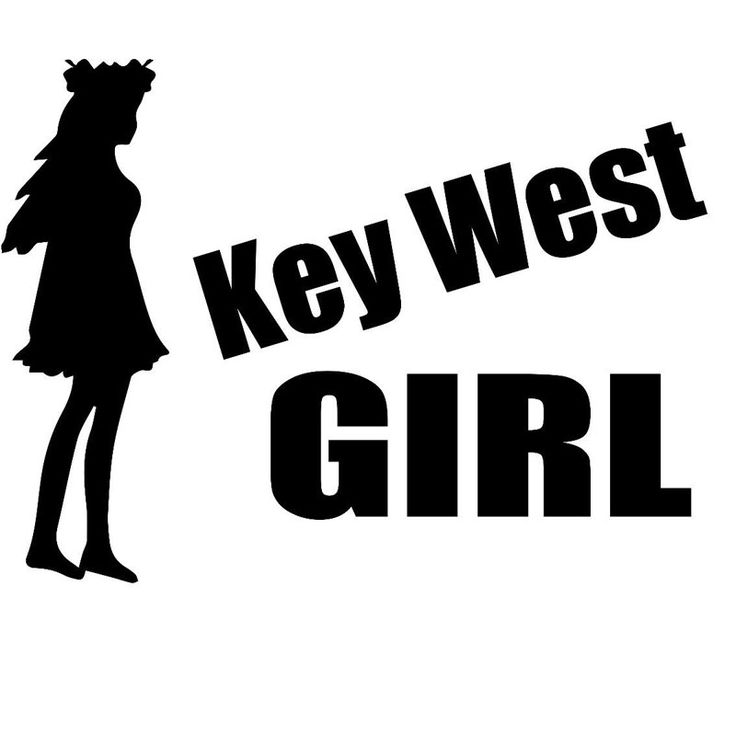 25.4CM*19CM Key West Girl Car Styling Accessories Motorcycle Car Stickers And Decals Black Sliver
