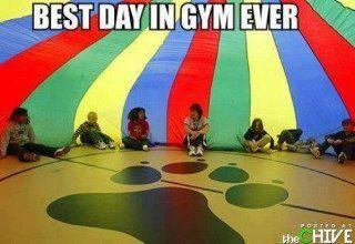 best day in elementary gym class...the simple things like a parachute game!