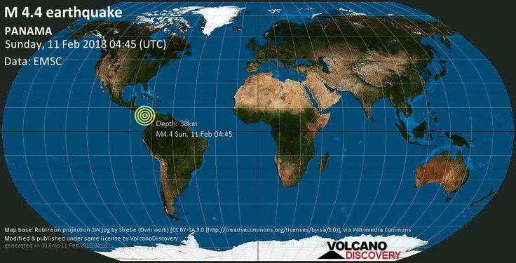 #panama #orbispanama Light mag. 4.4 earthquake - PANAMA on Sunday, 11 February - VolcanoDiscovery #KEVELAIRAMERICA #orbispanama