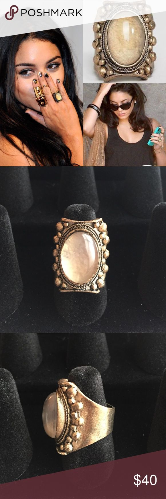LOW LUV Gold Plated Moonstone Ring LOW LUV by famous jewelry designer Erin Watson. Gold plated moonstone ring with vintage antique feel. Circle designs around center moonstone. Size 7. Worn a handful of times. Great condition. As seen on celebrities such as Vanessa Hudgens and Ashley Tisdale. Smoke-free home. This size no longer available thru retail. Low Luv x Erin Wasson Jewelry Rings