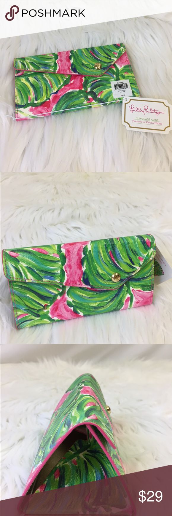 """Lilly Pulitzer painted palms sunglasses case NWT Lily Pulitzer sunglasses or glasses case in painted palms. Clever design folds flat while wearing sunglasses, expands to hold them. Gold interior with positive quote """"it's always sunny somewhere"""". Measurements in photos. No trades. Lilly Pulitzer Accessories"""