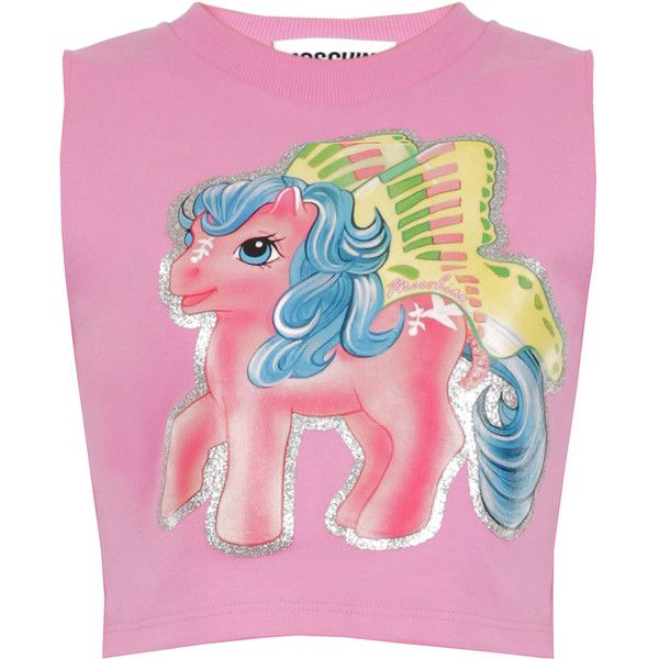 Moschino My Little Pony Crop Top ($445) ❤ liked on Polyvore featuring tops, graphic crop tops, pink top, cotton jersey, embellished crop top and graphic tops