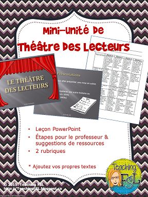 Mini-unité Théâtre des lecteurs - for French immersion drama (and language) - just add RT scripts for a scaffolded, three part unit. (Suggestions included)
