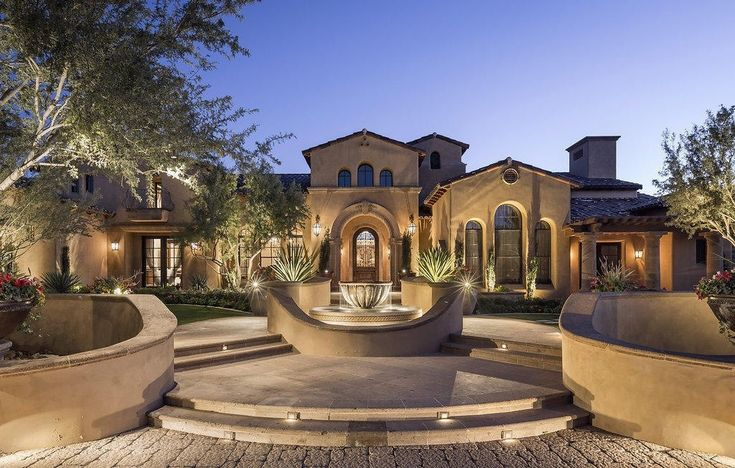 Mediterranean Luxury Home Front EntryPatio Courtyard with Water Fountain  Mediterranean Luxury Home  Pinterest  Luxury homes Home and