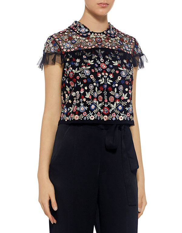 Needle & Thread: Posy Floral Embroidered Ruffle Cropped Top (item view - 3)