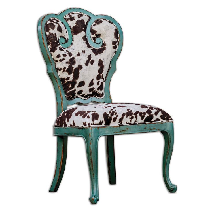 Chahna Milky White Velvet And Aqua Blue Accent Chair Uttermost Side Chairs Dining Chairs K
