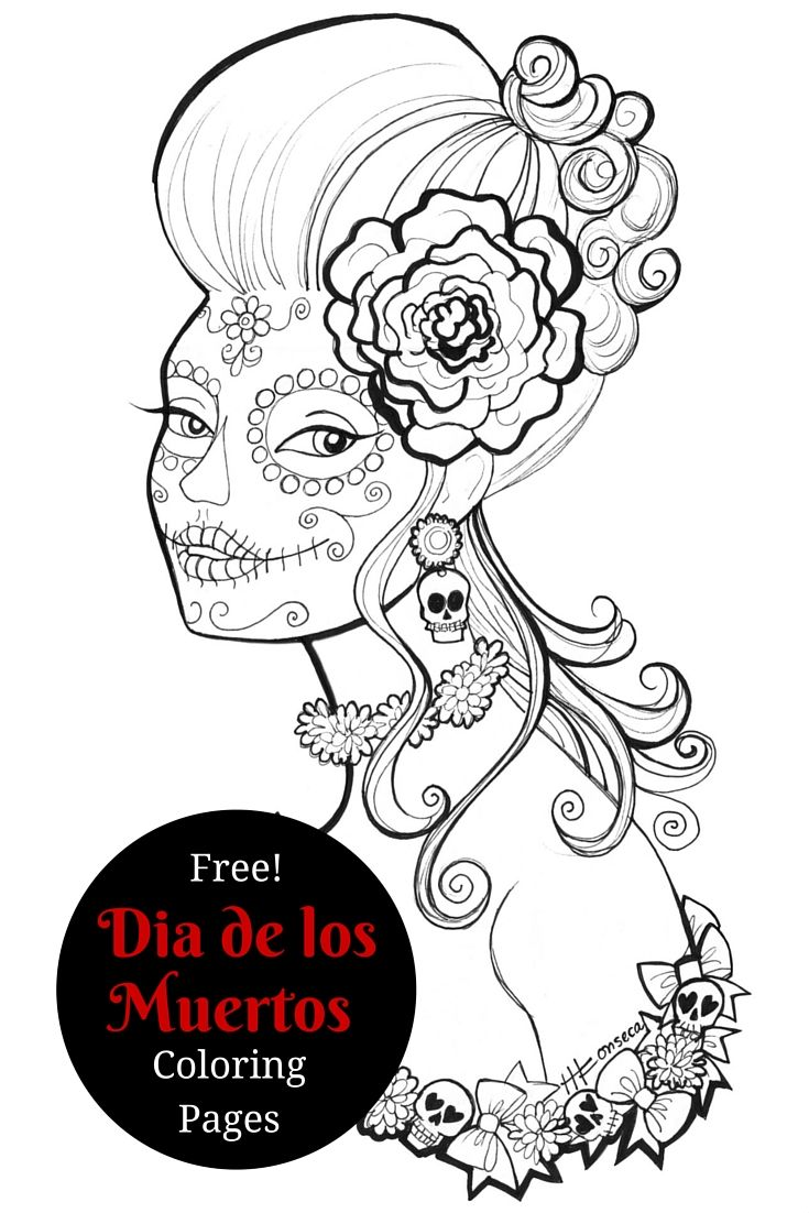 De los muertos coloring pages for Dia de los muertos skull coloring page