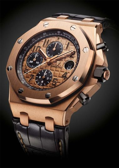 Audemars Piguet Royal Oak Offshore chronograph watch in pink gold with a 'Méga Tapisserie' pattern dial and black alligator strap (£29,700).