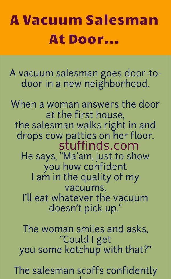 A Vacuum Salesman At Door Clean Funny Jokes Salesman Vacuums