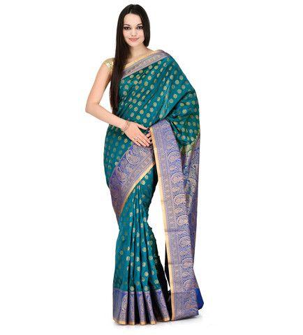 Sea Green Silk Jacquard Saree | Fabroop