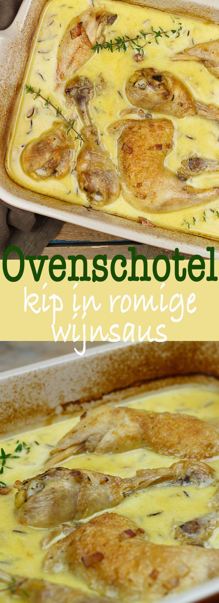 Kip in romige witte wijnsaus #oven #recipe #recept #kip #chicken