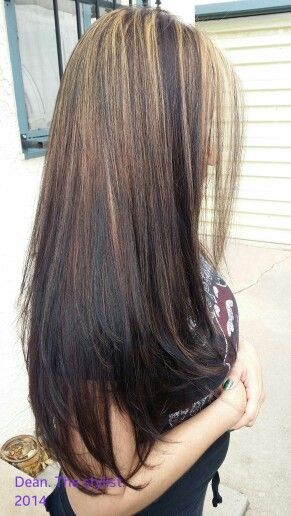 """Reverse """"ombre"""" Great for that client who wants to be blonde! But has boxed color on.  Redken flashlift 10 vol. Some hi lites pulled through the ends, some ombred fee hand down to So Color 5M down to 3N and 4M mixed"""