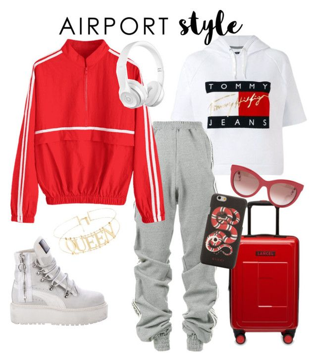 """""""Tommy girl stylish but comfy ready for the flight."""" by irini-stam on Polyvore featuring Tommy Hilfiger, Y/Project, Gucci, Puma and airportstyle"""