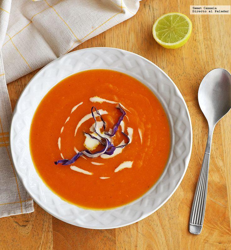 Receta para preparar sopa de camote, jengibre y naranja. Con fotos del paso a paso, y consejos de degustación