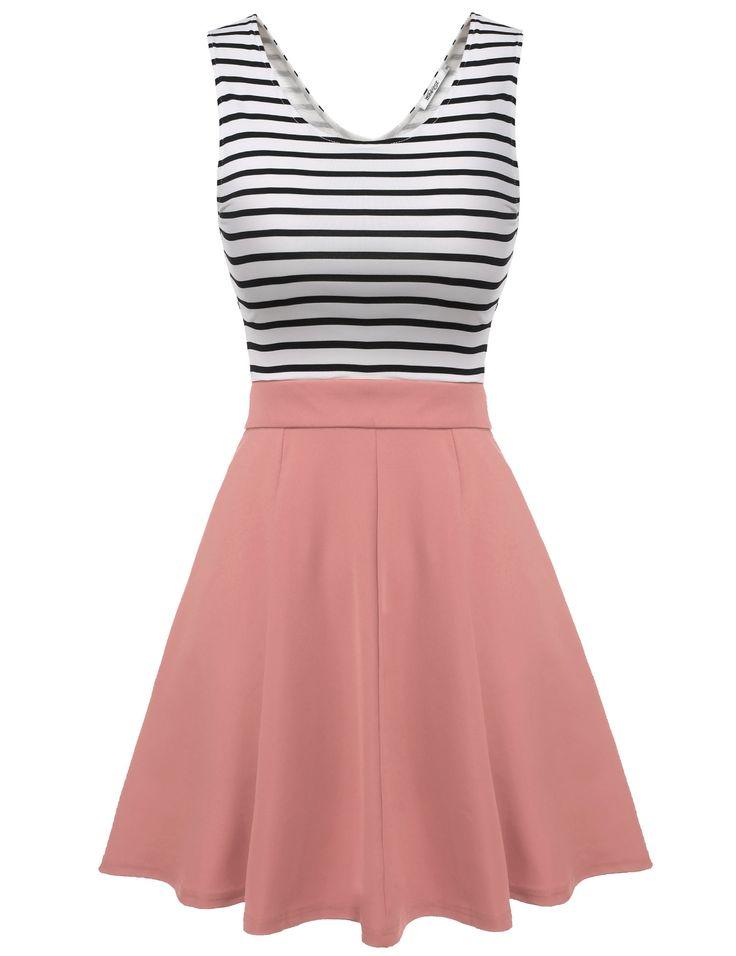 Pink Meaneor Women Sleeveless Striped Back Hollow Patchwork Slim Mini Casual Dresses dresslink.com