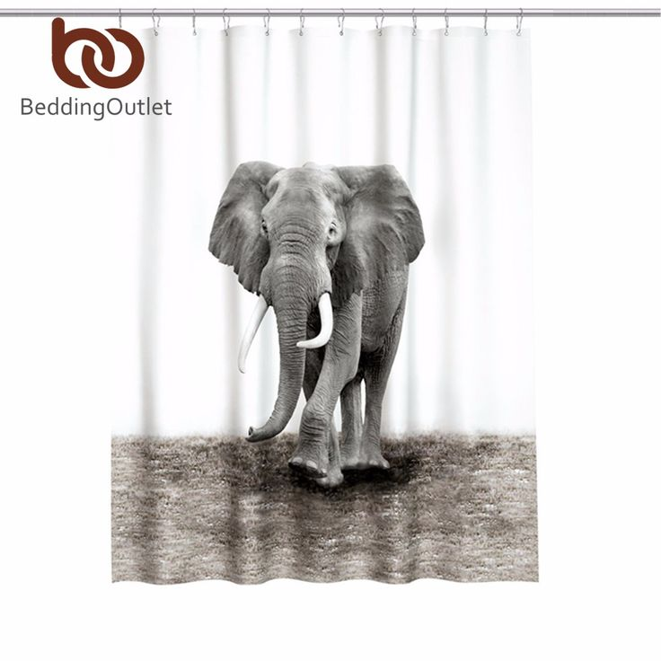 BeddingOutlet Elephant Shower Curtain 3D Printed Mildewproof Polyester Bathroom Cutain With Hooks 180x180cm 180x200cm