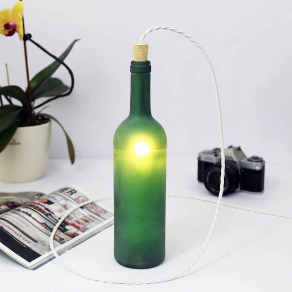 Grüne Flaschenlampe Aus Weinflasche Selber Bauen