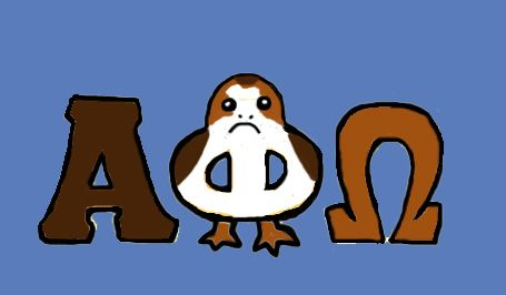 Porg Alpha Phi Omega letters