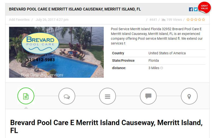 Pool Service Merritt Island Florida 32952 Brevard Pool Care E Merritt Island Causeway, Merritt Island, FL is an experienced company offering Pool service Merritt Island fl. We extend our services