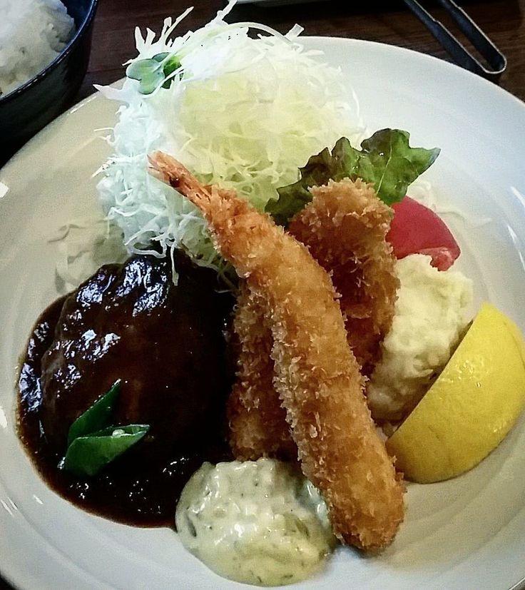 洋食昼ごはん #洋食ますだ #ランチ #ハンバーグ #エビフライ #白身魚フライ #昼ごはん #lunch #런치 #instagram #instafood #instagood #神戸 #花隈 by kamincino
