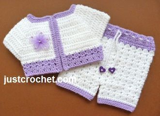 Free baby crochet pattern for short jacket & pants set FJC83 http://www.justcrochet.com/short-jacket-pants-usa.html #justcrochet