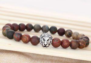 Men's Natural Picasso Jasper Gemstone Lion Beaded Energy Protection Bracelet S41 | eBay