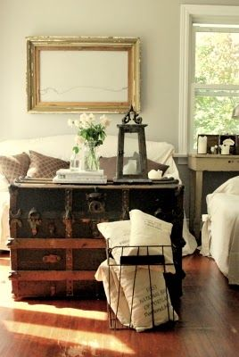 An old trunk in your livingroom for a table...Great for storage