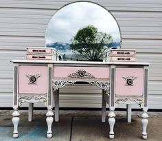 Lovely Pink and White Antique Vanity | Design Ideas For Finishing Furniture, Cabinets & Floors