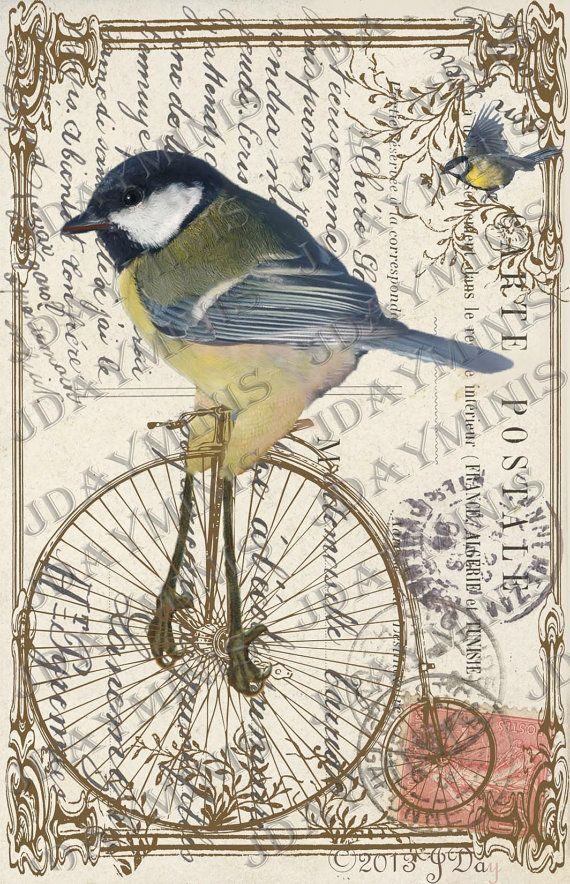 French Bird Biking Collage – Instant Download French Postcard Tag – FrA150Barbara Mills