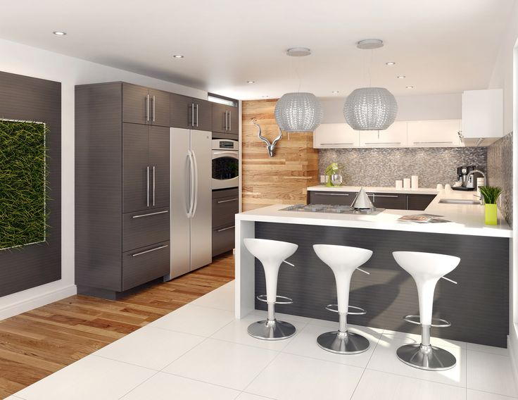Transitional Kitchen From Fabritec Expressive Grey Thalia Oak Lower Cabinets Glossy White Asia