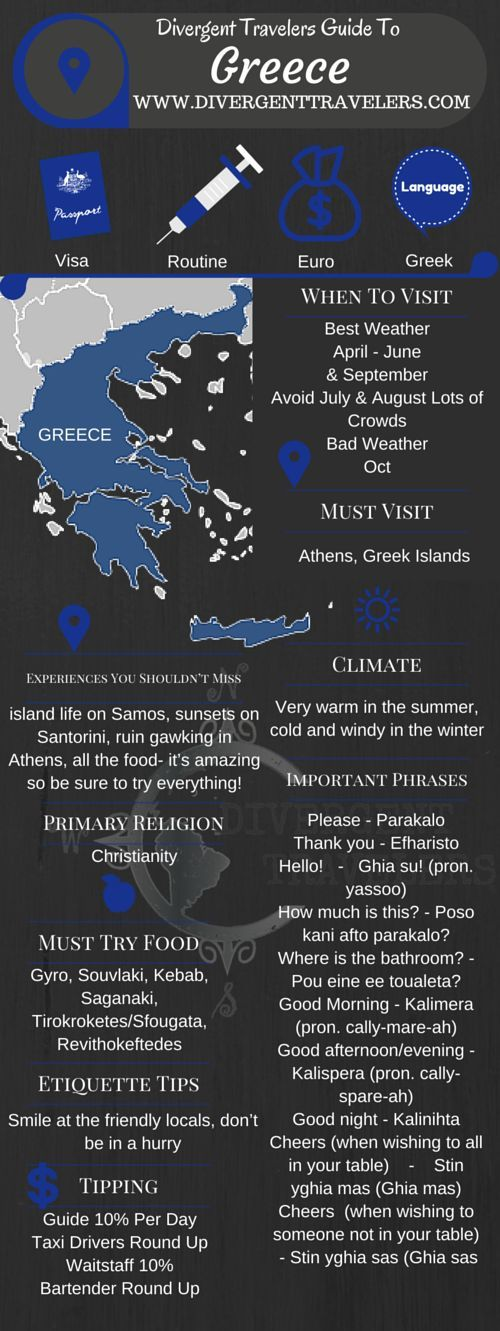 Divergent Travelers Travel Guide, With Tips And Hints To Greece. This is your ultimate travel cheat sheet to Greece. Click to see our full Greece Travel Guide from the Divergent Travelers Adventure Travel Blog and also read about all of the different adventures you can have in Greece at http://www.divergenttravelers.com/destinations/greece/