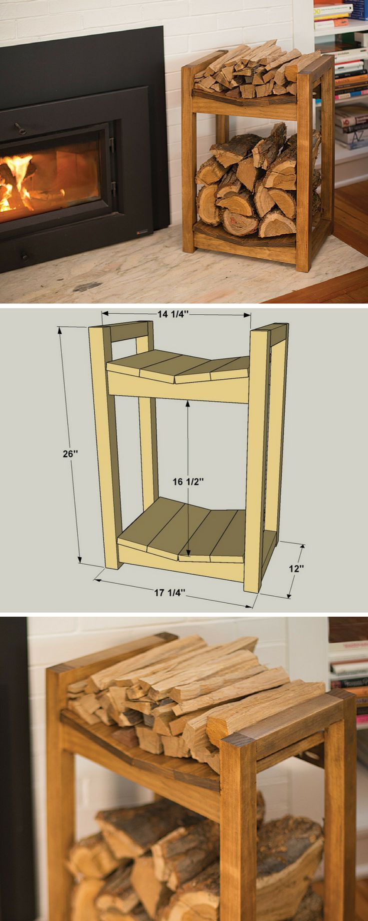 Keep your fireplace stocked with this firewood storage rack. The lower area holds your fire logs securely, while the upper area is a great place for keeping kindling. You can build one in just a couple of hours using four boards, a miter saw (or circular saw), a jigsaw, a drill, and a Kreg Jig.