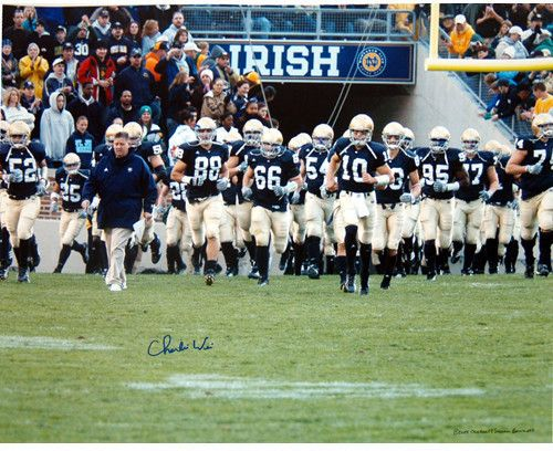 Charlie Weis Walking with Team on the Field 16x20