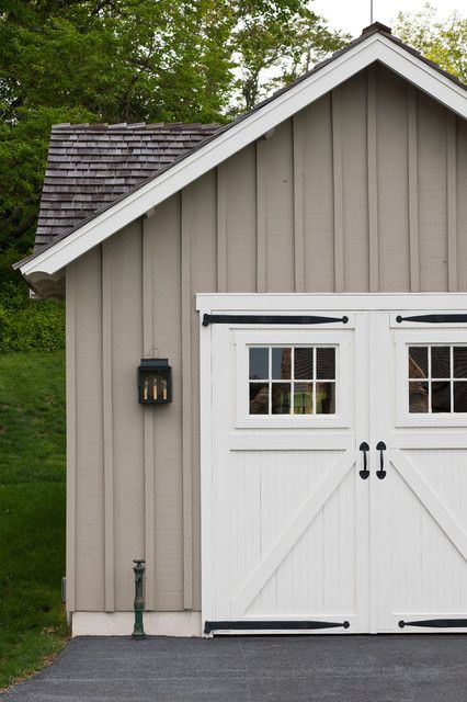 Arcadia doors garage and shed farmhouse with board and for Farmhouse garage doors