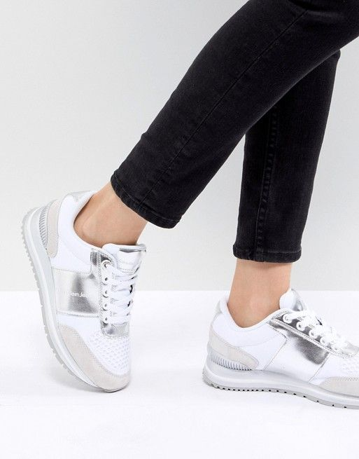 Sneakers Silver White Chunky Klein And Tanya Calvin Ck OxqwYfIz