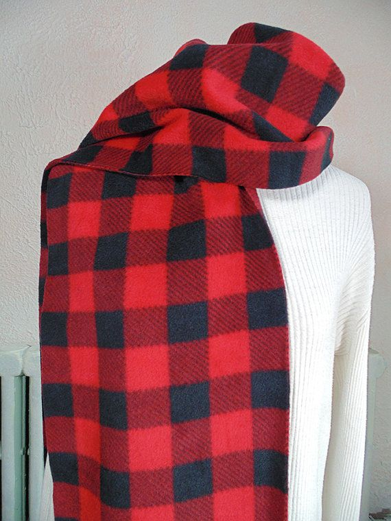 Red Buffalo Plaid Scarf Oversized Scarf Winter Scarf Very