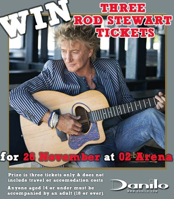 Great new #competition to #Win Tickets for you & 2 friends to see #RodStewart #O2 in London on 26th Nov! Enter by 23rd Oct at http://bit.ly/DaniloComps to be in with a chance!