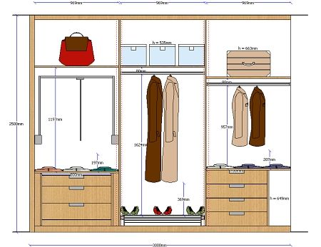 Planos de planta y alzado de armarios totalmente acotados for 3d wardrobe planner