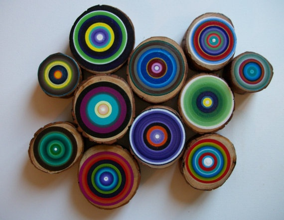 Tree Rings 9 Modern Rustic Concentric Circles You choose the Colors Great Unique Gift for Nature and Art Lovers. $145.00, via Etsy.