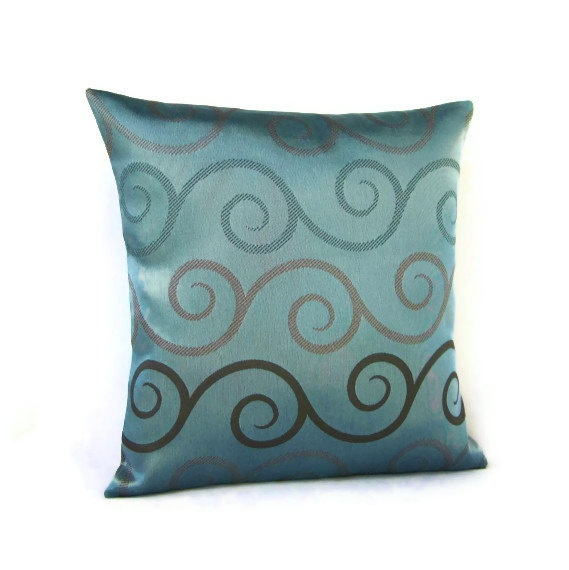 16x16 Throw Pillow Cover Blue Seafoam Teal Brown by #GigglesOfDelight Pillow Fight ...