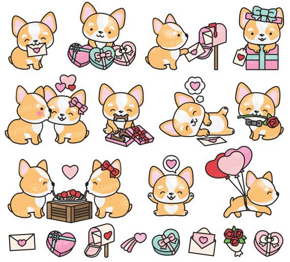 Premium Vector Clipart - Kawaii Valentines Corgis - Valentines Day Corgi Clipart Set - High Quality Vectors Cute Valentines Day Clipart