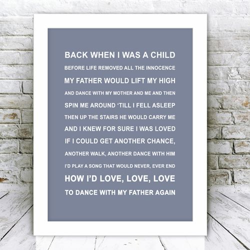Songs About Dads And Daughters: Song Lyrics Framed Print Dance With My Father Again
