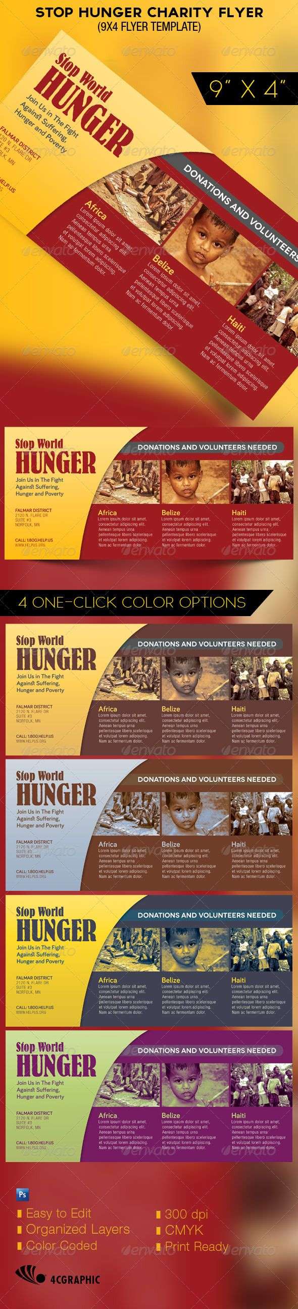 Stop Hunger Charity Organization Flyer Template - Church Flyers